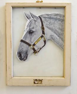 Gracie, Acrylic on Old Window Glass