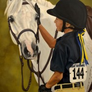 Hannah and Hot Pursuit, Oil Paint on Canvas, 22″x30″
