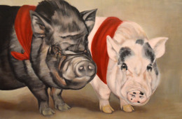 Potbellied Pigs, Oil Paint on Canvas, 18″x24″