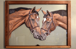 Courage and Oscar, Acrylic on Old Window, 36″x26″