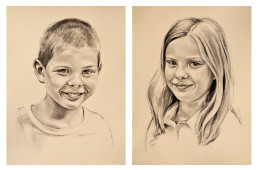 Cecilia and Gabe, Charcoal on Toned Ground, 12″x16″ each