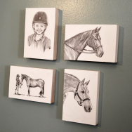 Small Pencil Drawings on Wood Panel Samples